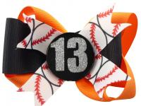 Glitter Player Number Baseball or choose sport Hair Bow