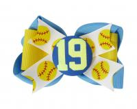 Cute Glitter Player Number Softball Hair Bow