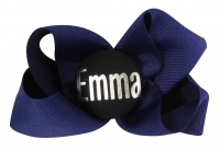 Purple hair bow with silver personalized name