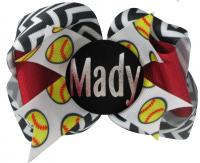 Softball Name Custom Hair Bow