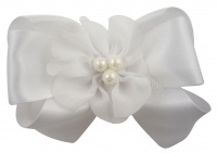 Flower Girl Hair Bow with Chiffon Pearl Flower/ Many Colors hairfg4