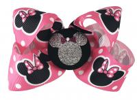 Hot Pink Glitter Minnie Mouse Hair Bow