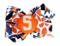 Chevron Basketball Glitter Number Hair Bow