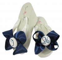 Navy Glitter I DO Bow Bride Flip Flops