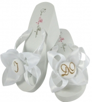White Wedge and Old Gold  I DO Bow Bride Flip Flops