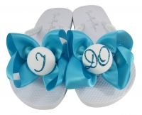 I DO Bow Flip Flops with Turquoise Glitter on White Flat Sandals
