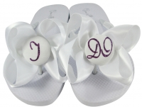 White & Purple Bride Flip Flops with Glitter I DO Bows