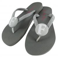 Gray Flip Flops with White Glitter Academic Font Initial