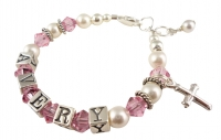 Crystal, Pearl & Charm Name Bracelet for Girls