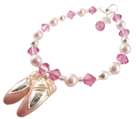 Pink Ballet Slipper Bracelet, Dance Shoes Bracelet for Girls