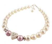 Flower Girl Bracelet with Powder Rose & Cream Swarovski Pearls & Sterling Heart Initial