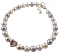 Flower Girl Pearl Bracelet in Lavender & White with Sterling silver Initial