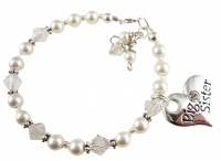 Big Sister Heart Charm Bracelet for Girls in White Pearls & Clear Swarovski Crystals