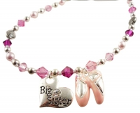 Big Sister Necklace with Ballet Dance Charm in Pink Crystals & Pearls
