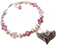 Rose Pink Big Sister Bracelet with Butterfly Crystals
