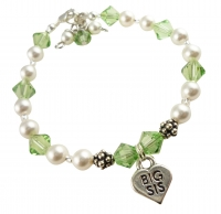 Peridot, any birthstone, White Pearl Big Sis Sister Bracelet