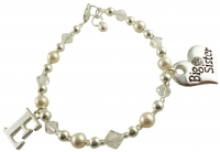 Big Sister Initial Charm Bracelet in Cream Pearls & Clear Crystals