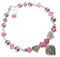Personalized Rose & Mauve Pearl Big Sister Bracelet - any colors JWSIS27