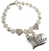 White opal, choose colors 2 initial Personalized Big Sister Bracelet