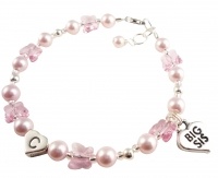 Sister Butterfly Crystal Charm Bracelet - pink or choose colors
