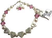 Heart Name Big Sister Bracelet - Pink & White Pearl