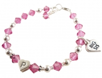 Big Sis Charm Bracelet with initial - Rose pink/ choose colors