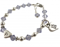 Big or Lil Sis Charm Bracelet with initial - Lavender or any colors