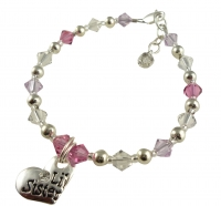 Violet, Pink & Clear Lil Sister or Big Sister Bracelet - choose colors JWSIS37