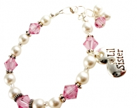 Pearl & Pink Lil Sister / Big Sister Bracelet - choose colors