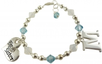 Big Sister Bracelet with Initial Charm aqua or any colors