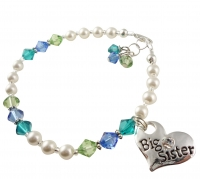 Big Sister Bracelet with Pearls and Colorful Crystals- choose colors