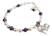 Big Sister Bracelet in Purple Velvet Crystals & White Pearls