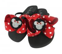 Red Polka Dot Glitter Minnie Flip Flops