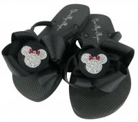 Design your own Glitter Minnie Mouse Bow Flip Flops