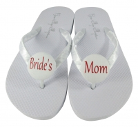 Red & White Bride's Mom Flip Flops, Choose your Colors MOBG13