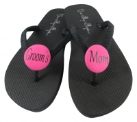 Groom's Mom Hot Pink/ Black Flip Flops, Choose your Colors MOBG14