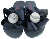 Bride's Mom Flip Flops with Bows in Navy & Gray Buttons  MOBG29