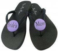 Bride's Mom Black/Purple Flip Flops, Choose your Colors MOBG3