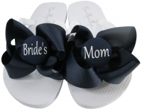 Bride's Mom Flip Flops with Bows on White with Navy MOBG30