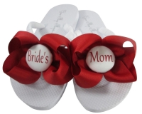 Red & White Bride's Mom Flip Flops with Bows MOBG32