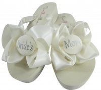 Ivory & Silver Bride's Mom/Groom's Mom Flip Flops, Choose your Colors MOBG35