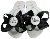White & Black Satin Bride's Mom/Groom's Mom Flip Flops, Choose your Colors MOBG39