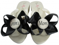 Ivory & Black Satin Bows Groom's Mom Flip Flops MOBG40