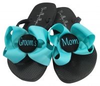 Turquoise Bow Groom's Mom Flip Flops