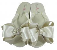 Champagne & Ivory Classic Satin Bow Flip Flops
