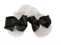 Black & Ivory Wedding Bow Flip Flops