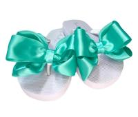 Wedding Flip Flops with Hot Pink Satin Bows