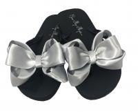 Black & Silver Satin Bow Flip Flops