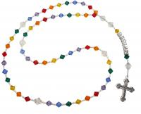 Rainbow Name Rosary with ornate cross -or your custom colors Rsy24