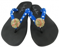 Softball Flip Flop Sandals with Neon Blue ribbon